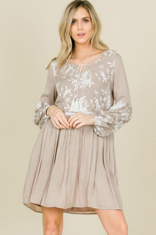 Jennifer Floral Embroidery Tassel Strap Dress : Mocha