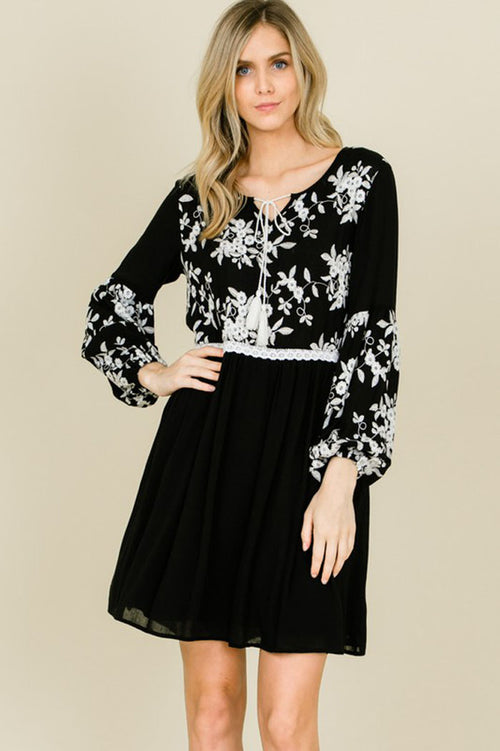 Jennifer Floral Embroidery Tassel Strap Dress : Black