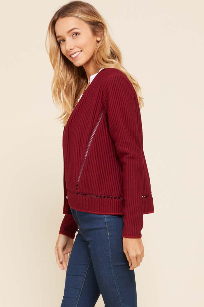 Jennifer Lace Trim Ribbed Jacket : Burgundy