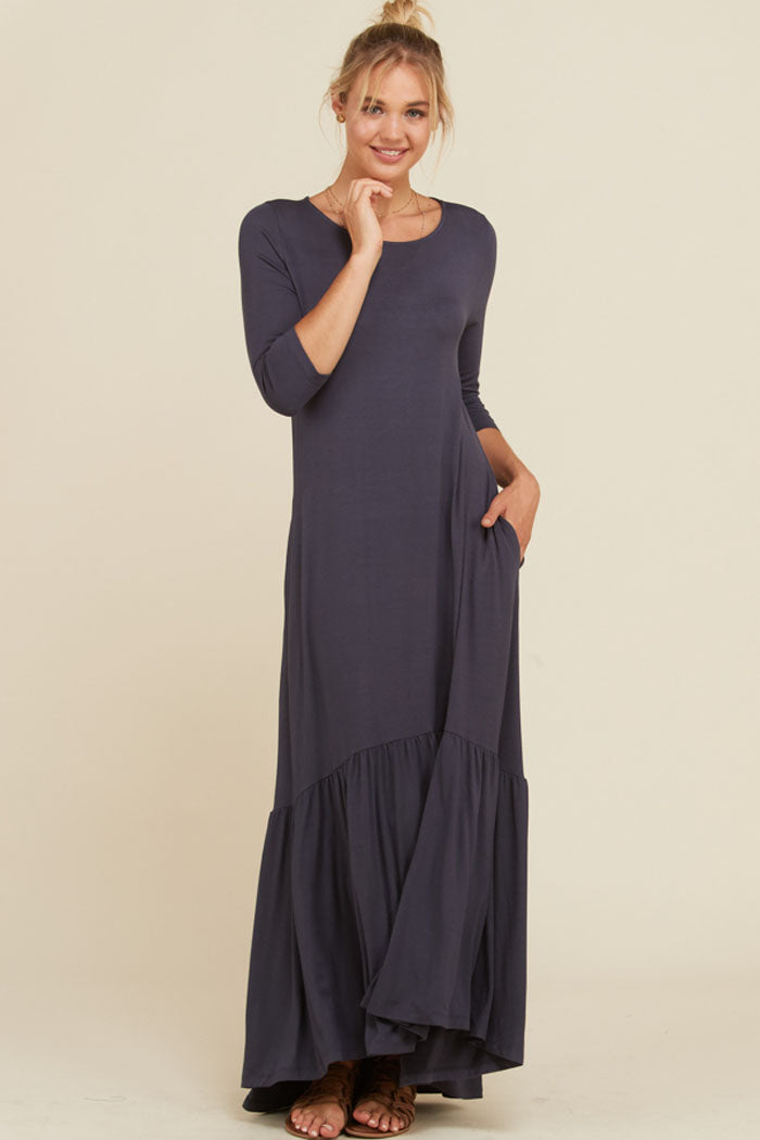Jennifer Ruffle Maxi Dress : Mid Grey