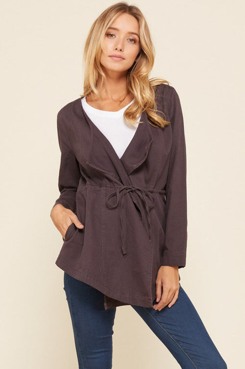 Jennifer Waist Tie Cascade Jacket : Java