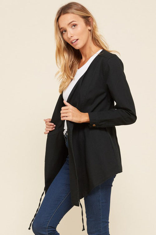 Jennifer Waist Tie Cascade Jacket : Black
