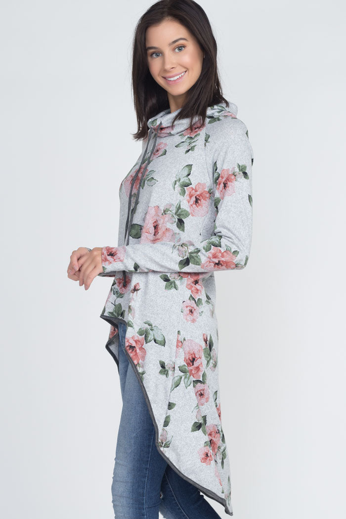 Jeri Floral Cowl Neck Hi-Lo Tunic Top : H.Grey