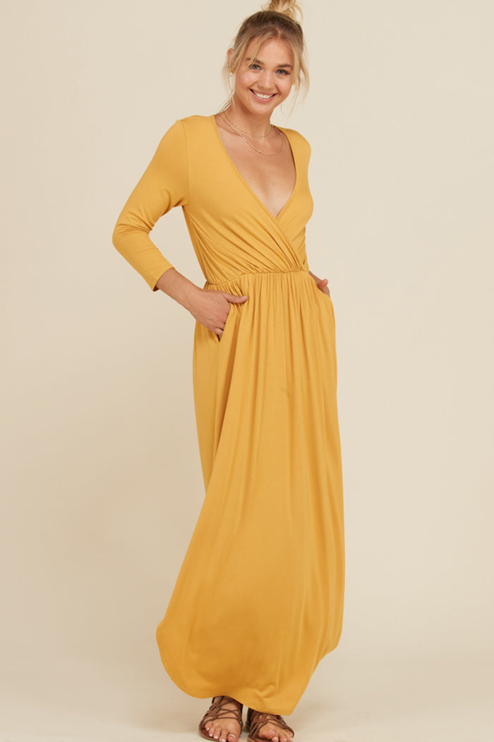 Jess 3/4 Sleeve Maxi Dress : Mustard