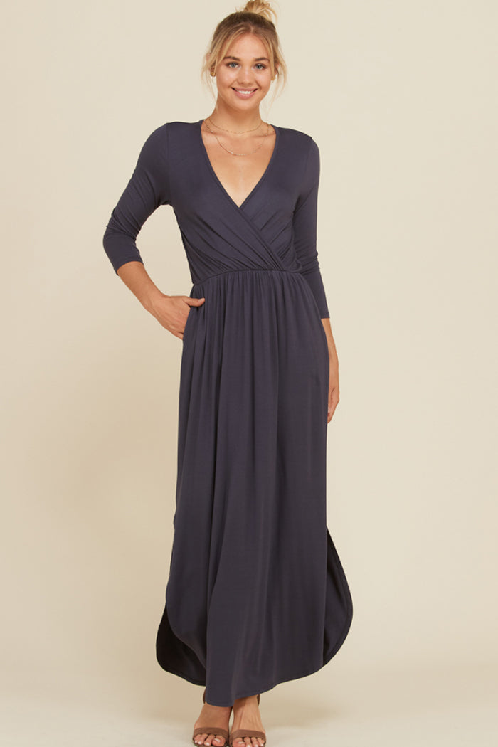 Jess 3 4 Sleeve Maxi Dress Slate Gozon Boutique