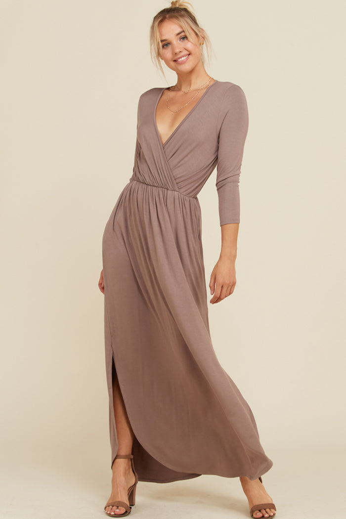 Jess 3/4 Sleeve Maxi Dress : Berry