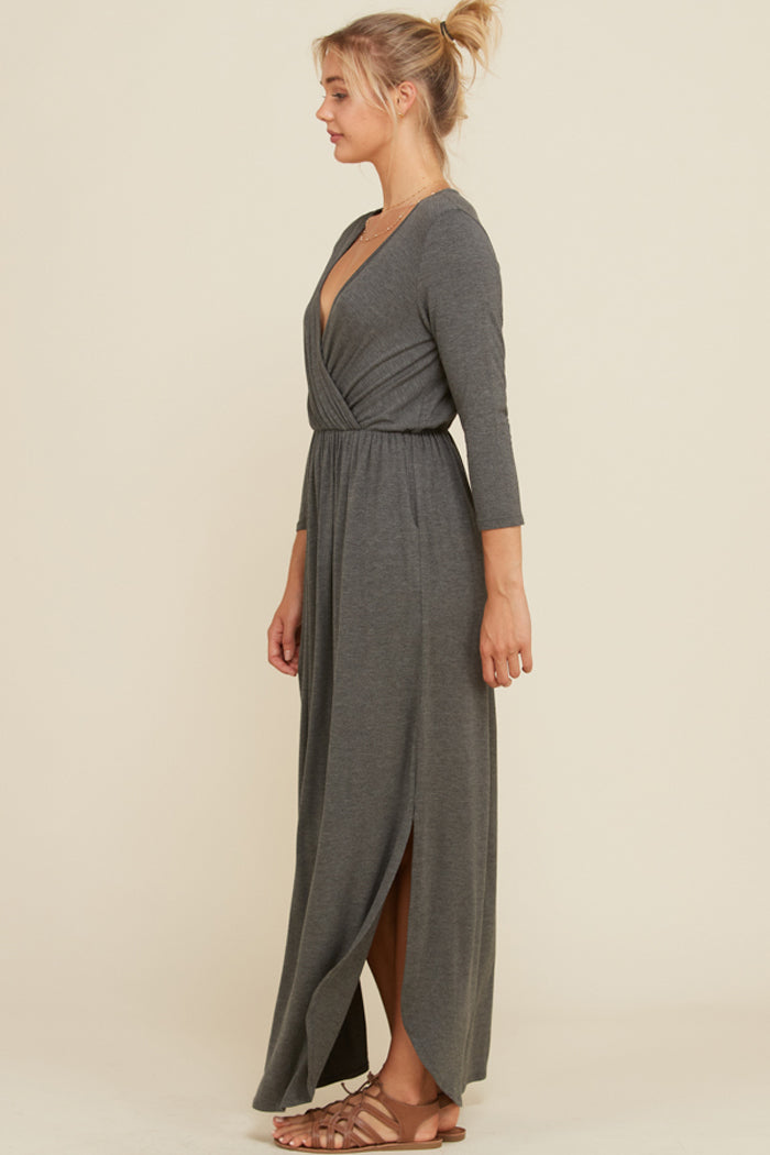 Jess 3/4 Sleeve Maxi Dress : Mid Grey