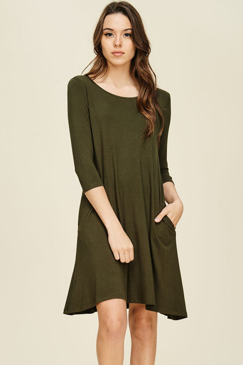 Jessica Solid A-Line Swing Dress : Olive