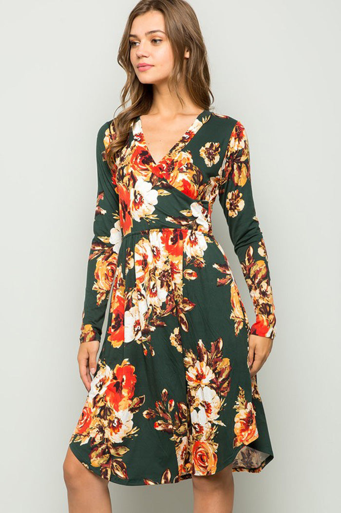 Julia Faux Wrap Dress : Hunter Green