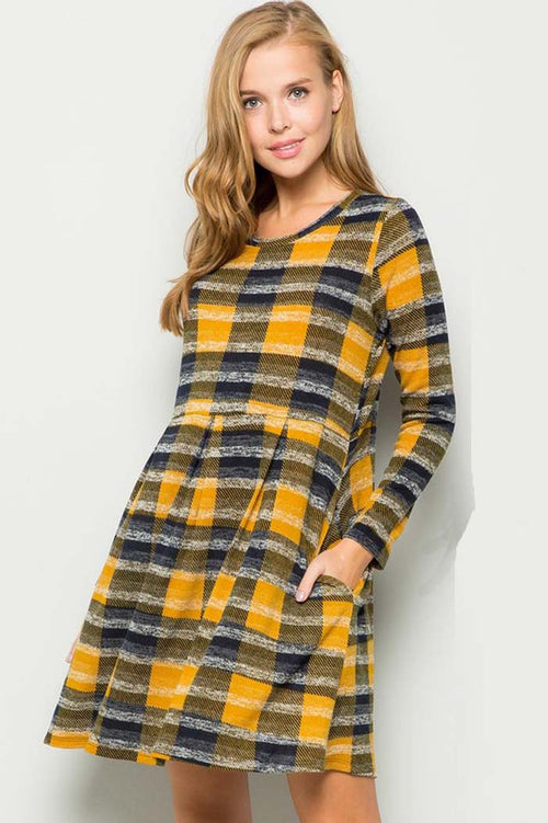Julia Plaid Sweater Dress : Mustard