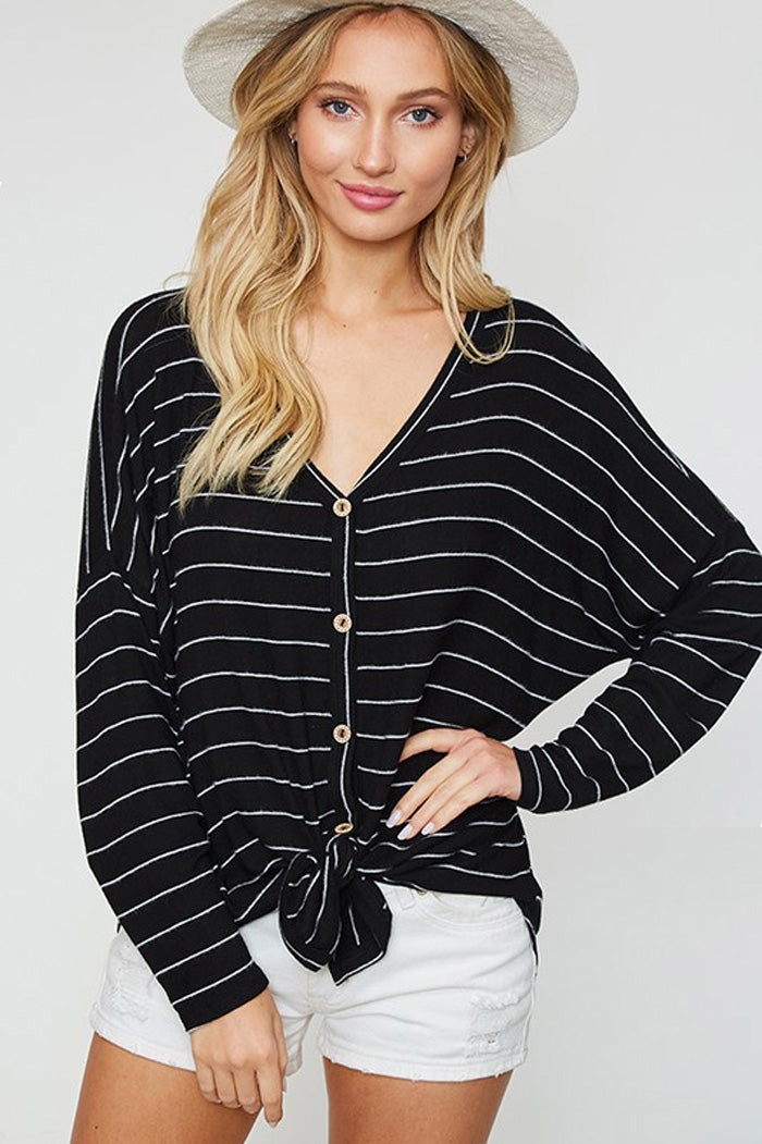 Alice Stripe Button Down Kint Top : Black/Off White