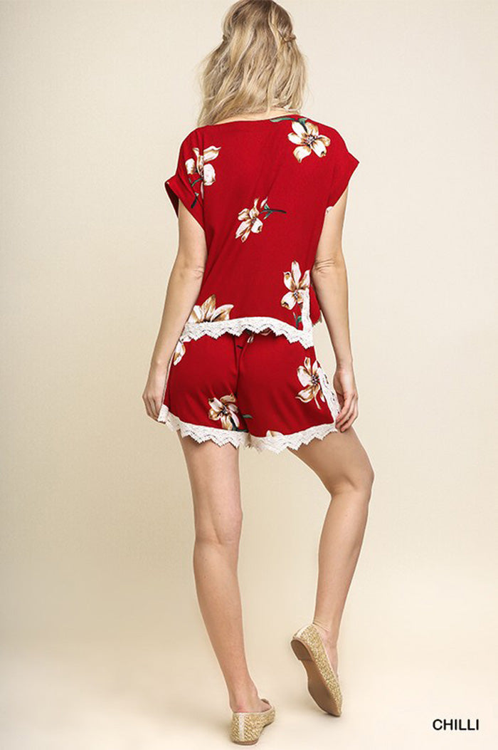 Kate Floral Top and Shorts Set : Chilli