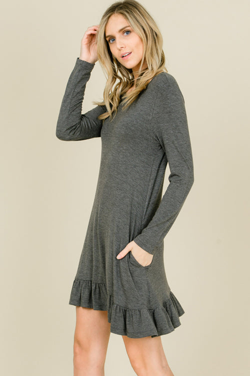 Kelly Ruffle Hem Swing Dress : Mid Grey