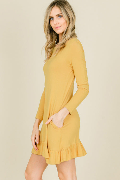 Kelly Ruffle Hem Swing Dress : Mustard