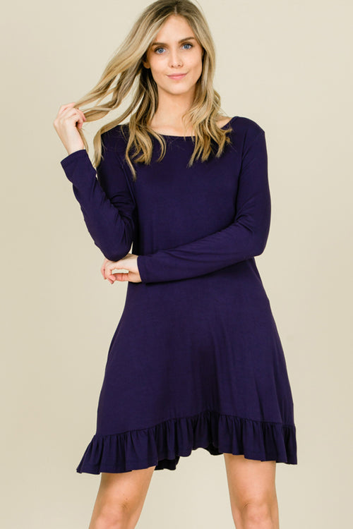 Kelly Ruffle Hem Swing Dress : Navy