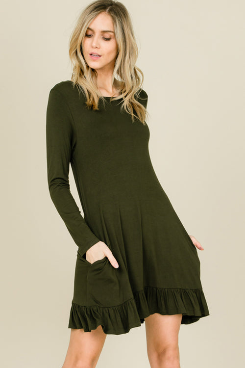 Kelly Ruffle Hem Swing Dress : Olive