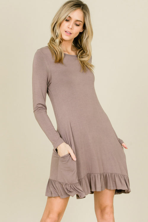 Kelly Ruffle Hem Swing Dress : Taupe Grey