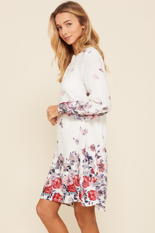 Kelsi Cuff Long Sleeve Floral Dress : Off White