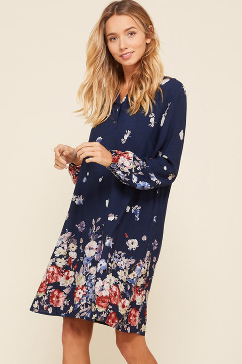 Kelsi Cuff Long Sleeve Floral Dress : Navy