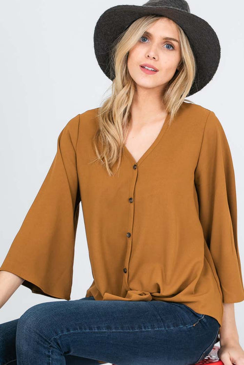 Kimberly Solid Button Up Front Tie Top : Camel