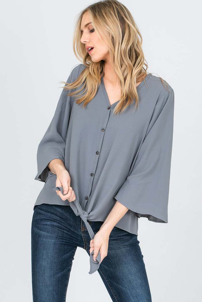 Kimberly Solid Button Up Front Tie Top : Grey
