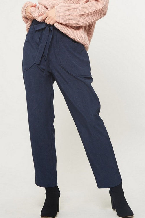 Kirsha Plaid Pattern Belted Pants : Navy