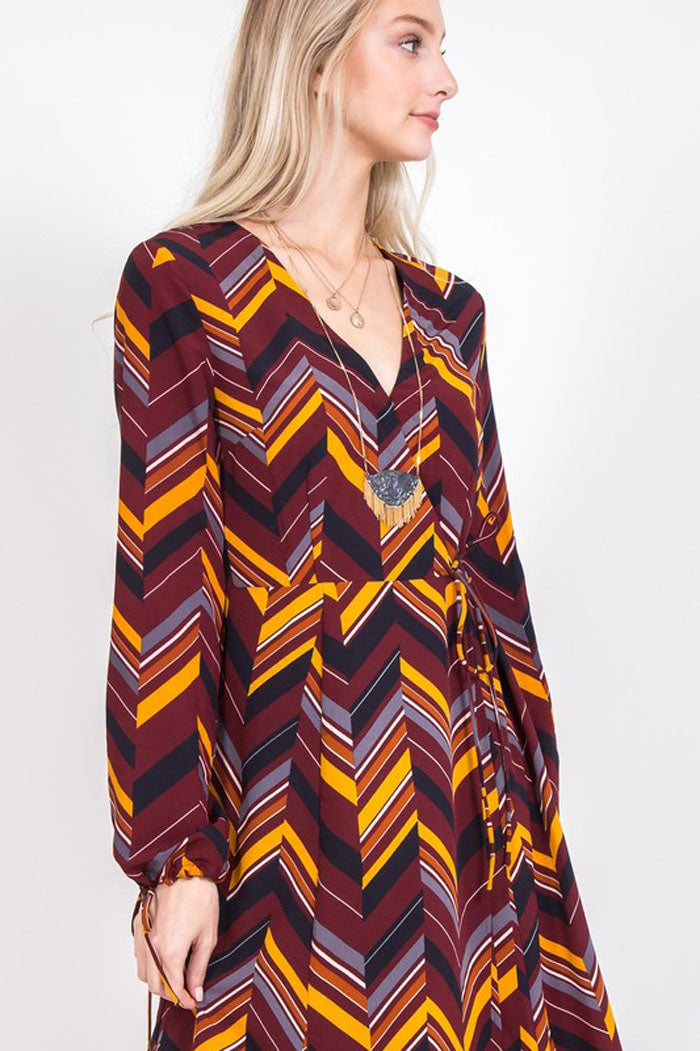 Kristen Multi Color Print Wrap Dress : Wine