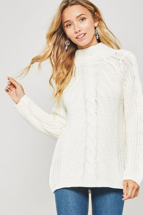 Kristi Cable Knit Mock Neck Sweater : Ivory