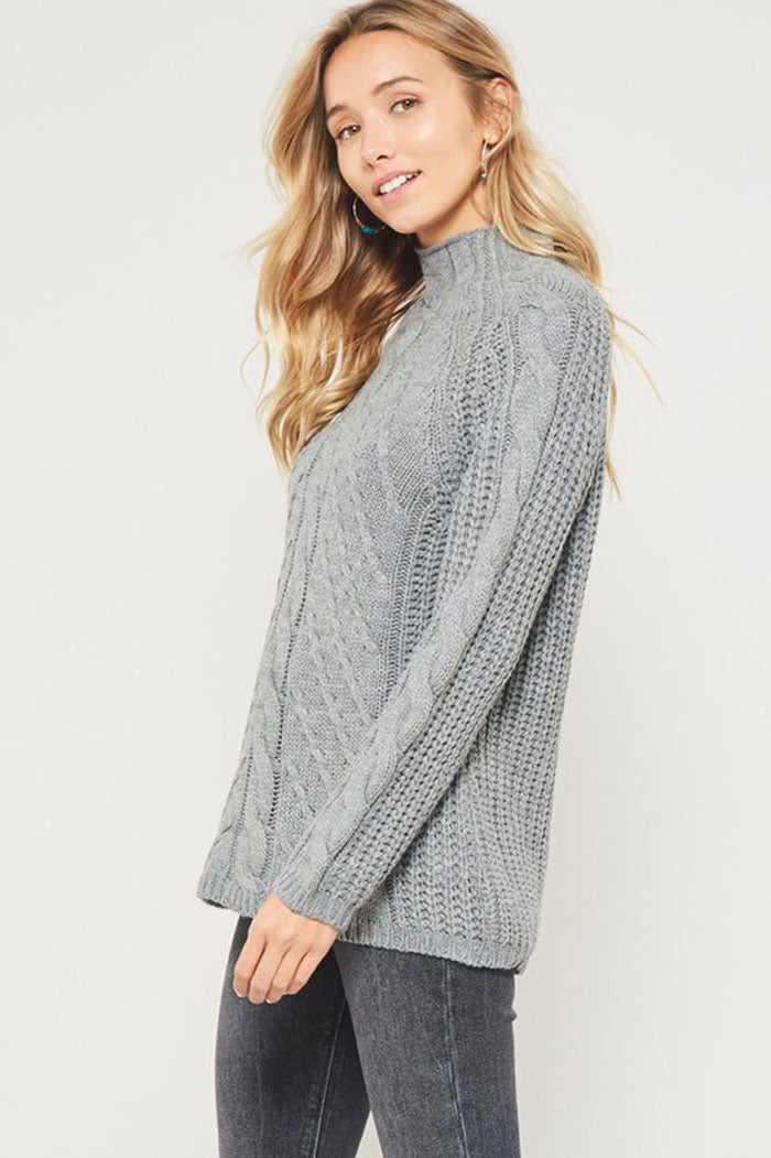Kristi Cable Knit Mock Neck Sweater : Heather Grey