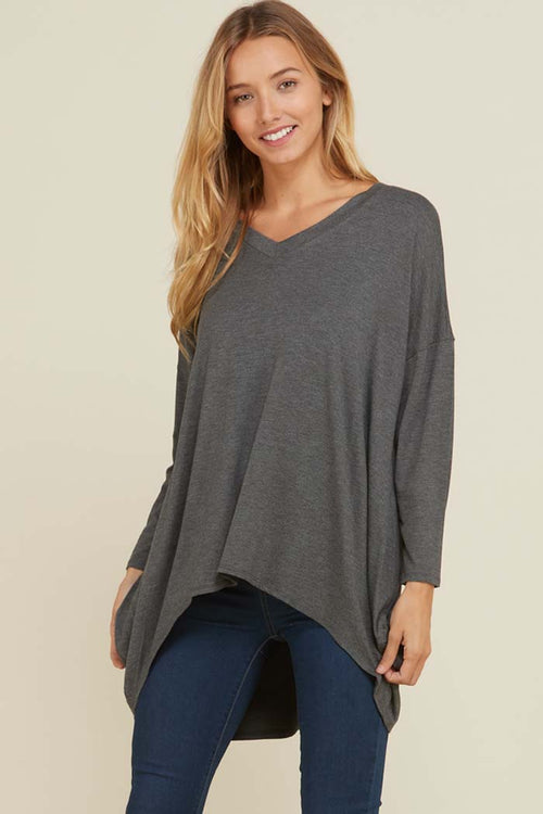 Kristine Hi-Low Tunic Solid Top : Mid Grey