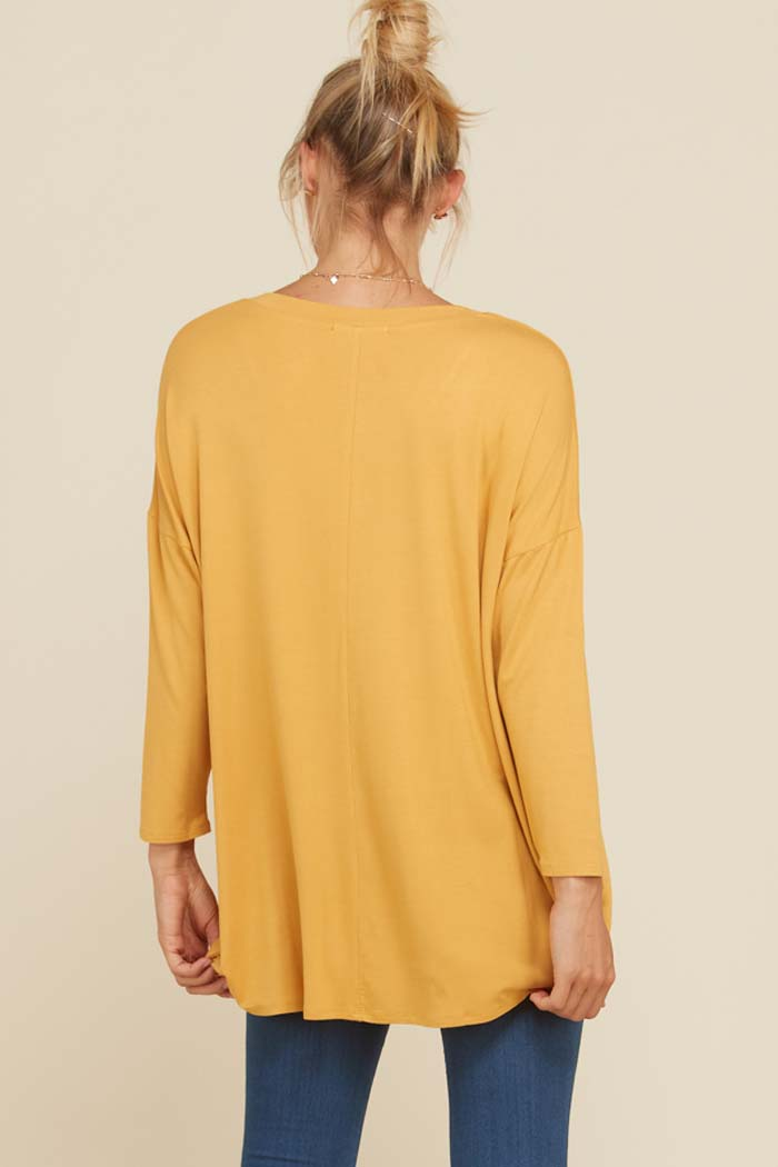 Kristine Hi-Low Tunic Solid Top : Mustard
