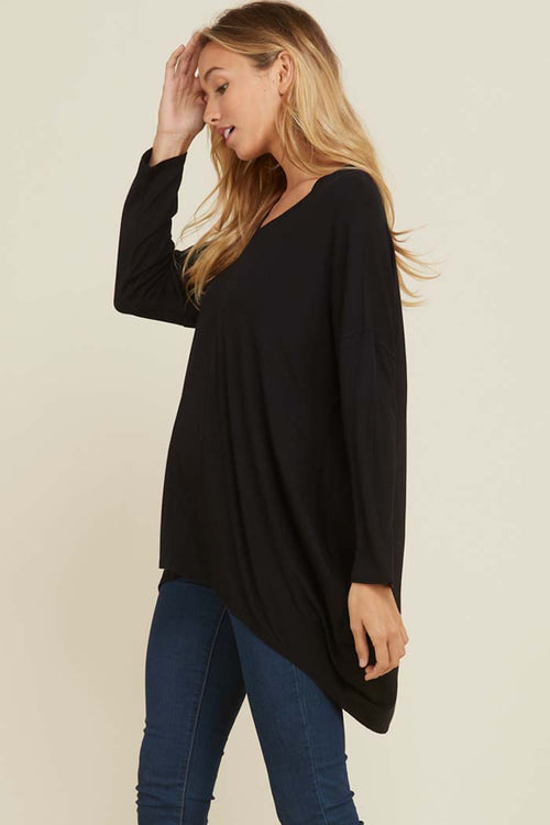 Kristine Hi-Low Tunic Solid Top : Black