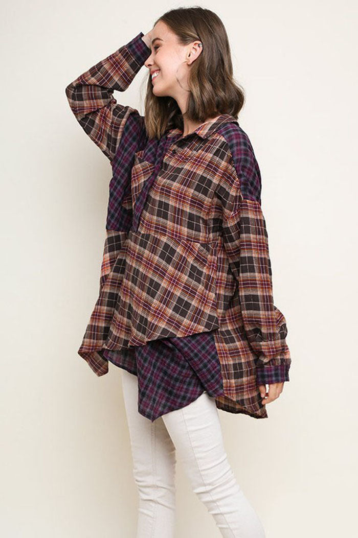 Kylie Plaid Asymmetrical Hem Tunic Top : Sunset Mix