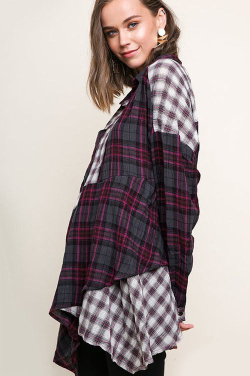 Kylie Plaid Asymmetrical Hem Tunic Top : Magenta Mix