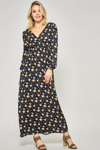 Isabella Floral Party Dress : Black