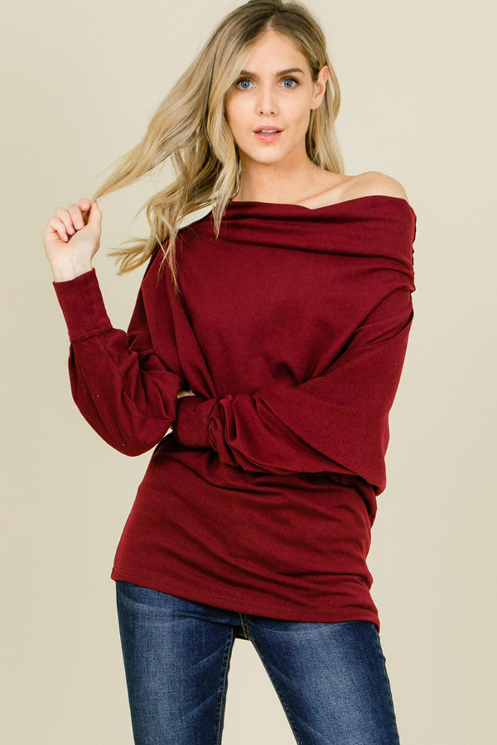 Leah Solid Convertible Shoulder Tunic Top : Burgundy