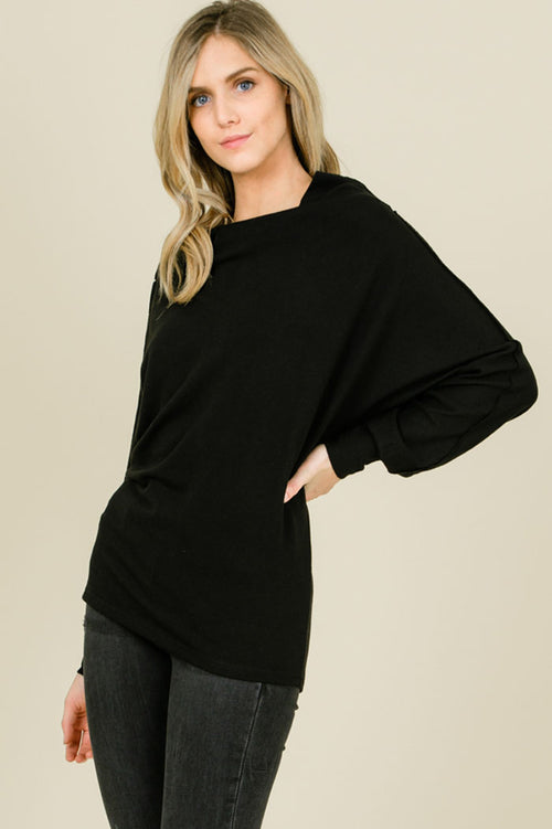 Leah Solid Convertible Shoulder Tunic Top : Black