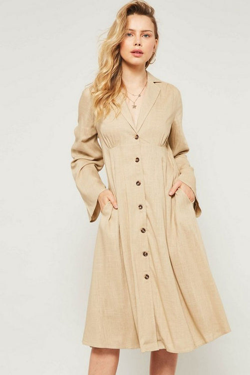 Libby Button Down Lapels Flared Dress : Beige