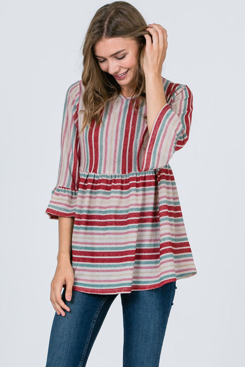 Lindell Multi Color Striped Babydoll Top : Burgundy