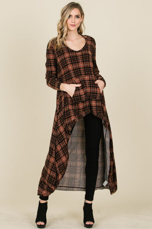 Lindsay Plaid Kangaroo Pocket Tunic Hood Top : Rust