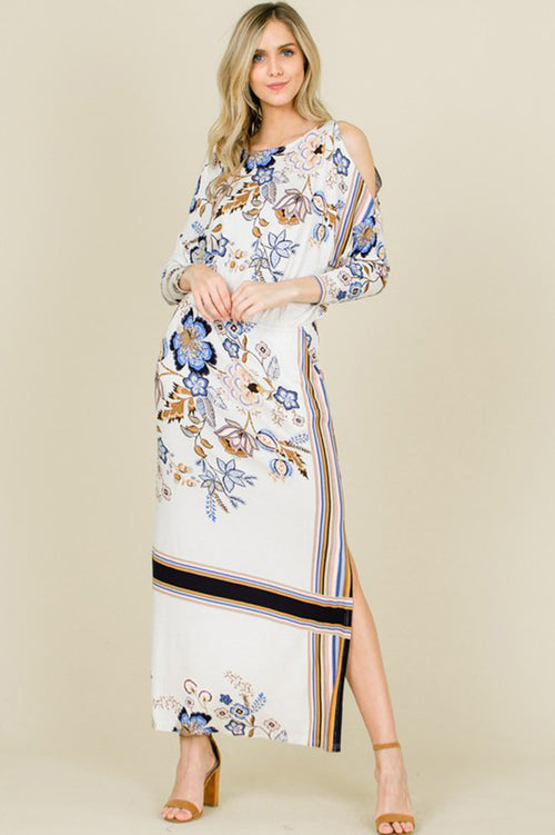 Lindsey Floral And Stripe Maxi Dress : Cream