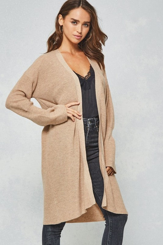 Lindsey Solid Ribbed Cuffs Sleeve Cardigan : Beige