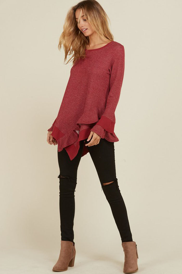 Lola French Terry Layered Ruffle Top : Burgundy