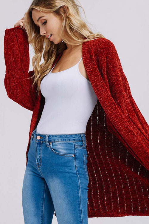 Lucia Ribbed Cozy Cardigan : Tomato Red