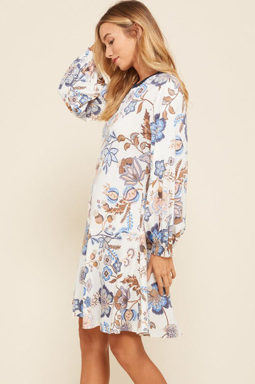 Lucy Floral French Terry Dress : Cream