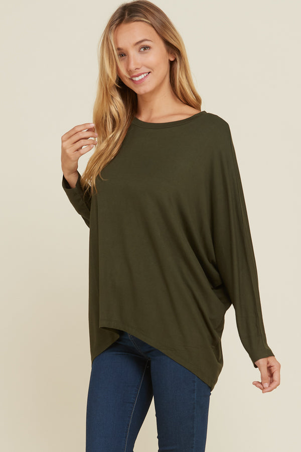 Lucy Oversize High-Low Tunic Top : Black