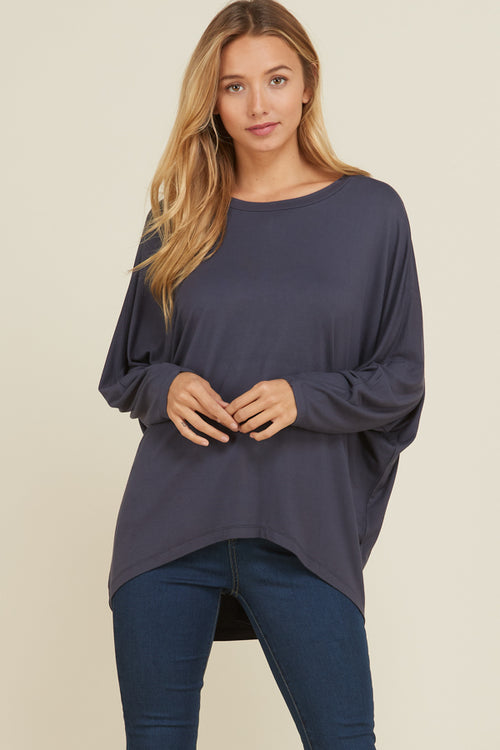 Lucy Oversize High-Low Tunic Top : Slate