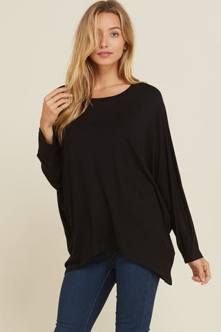 Susan Stripe Contrast Fringe Detail Top : Charcoal