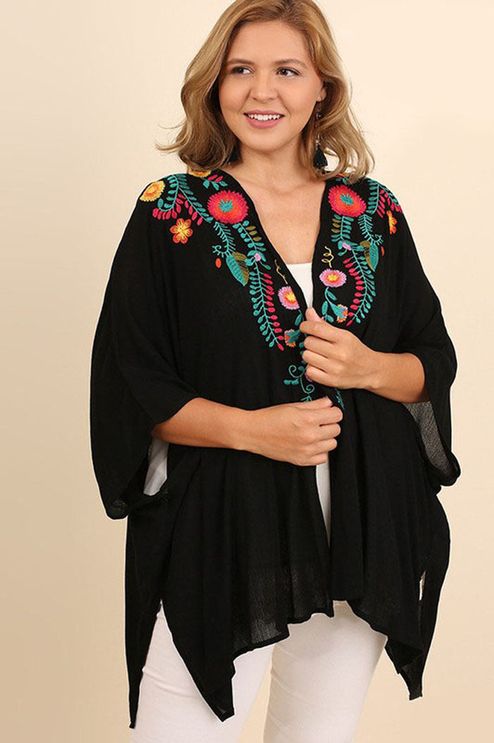 Copy of Margaret Floral Embroidered Kimono Plus : Turquoise