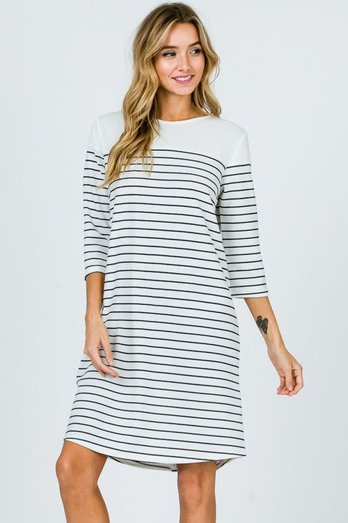 Marilyn Striped Back Buttons Dress : Black